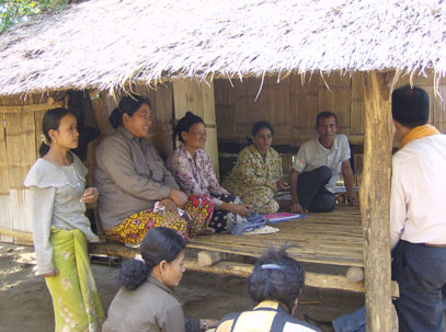 Families in Cambodia, where a land rights study was conducted