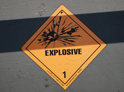 Mine explosion warning sign