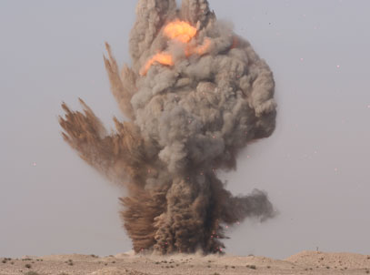 A stockpile being destroyed in Iraq